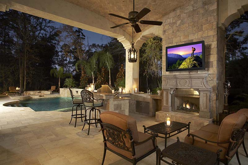 Outdoor TV installation On Wall Above Fireplace Brentwood, TN